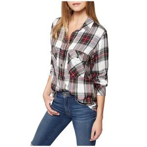 Sanctuary Plaid Boyfriend Shirt Size Large NWT